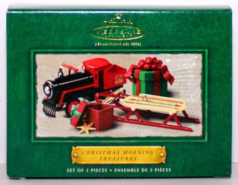 Christmas Morning Treasures NEW 2002 Hallmark Ornament Set 3 Sled Train Package
