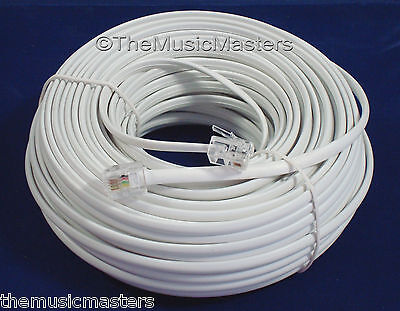 White 100' ft Telephone Modular Line Cord Phone Cable Extension Wire RJ11 VWLTW