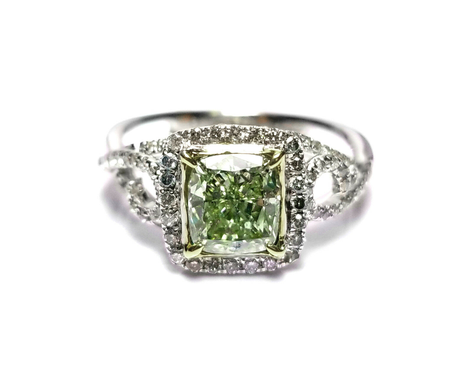 1.73ct Natural Fancy Green Diamond Engagement Ring GIA 18K White Gold Cushion 3