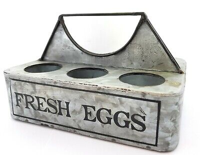 Rustic Farmhouse Fresh Eggs Metal Caddy Vintage Farmhouse Country Kitchen Decor