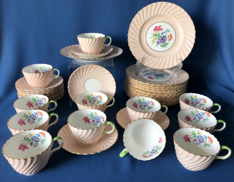 Antique Aynsley pastel pink swirl luncheon set 36 pieces
