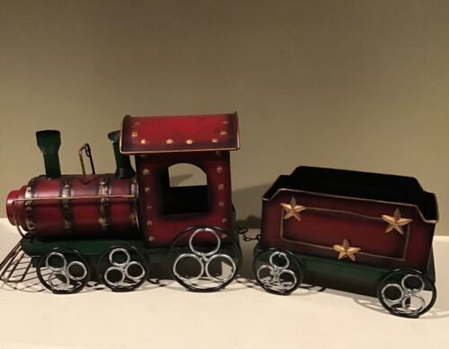 Christmas Centerpiece Metal Dark Red Train Moveable Wheels 2 pc