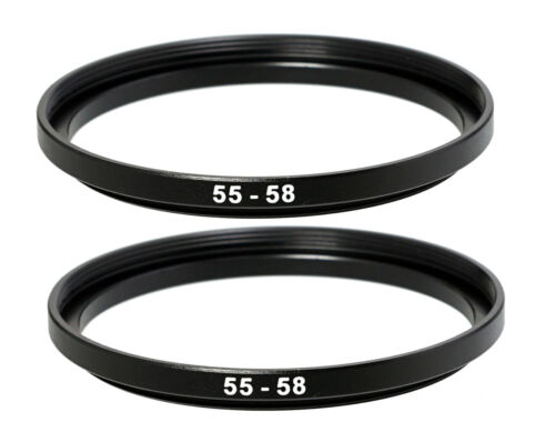 (2 Packs) 55-58mm 55mm to 58mm Metal Step Up Lens Filter Ring Adapter US Seller