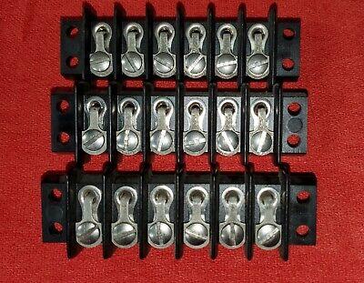 Lot Of 3 Cinch Jones 6-141y Barrier Type Terminal Block 6 Position