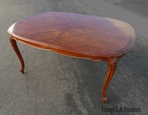 Vintage French Country Brown Dining Room Table w Two Leaves Century Furn. Style