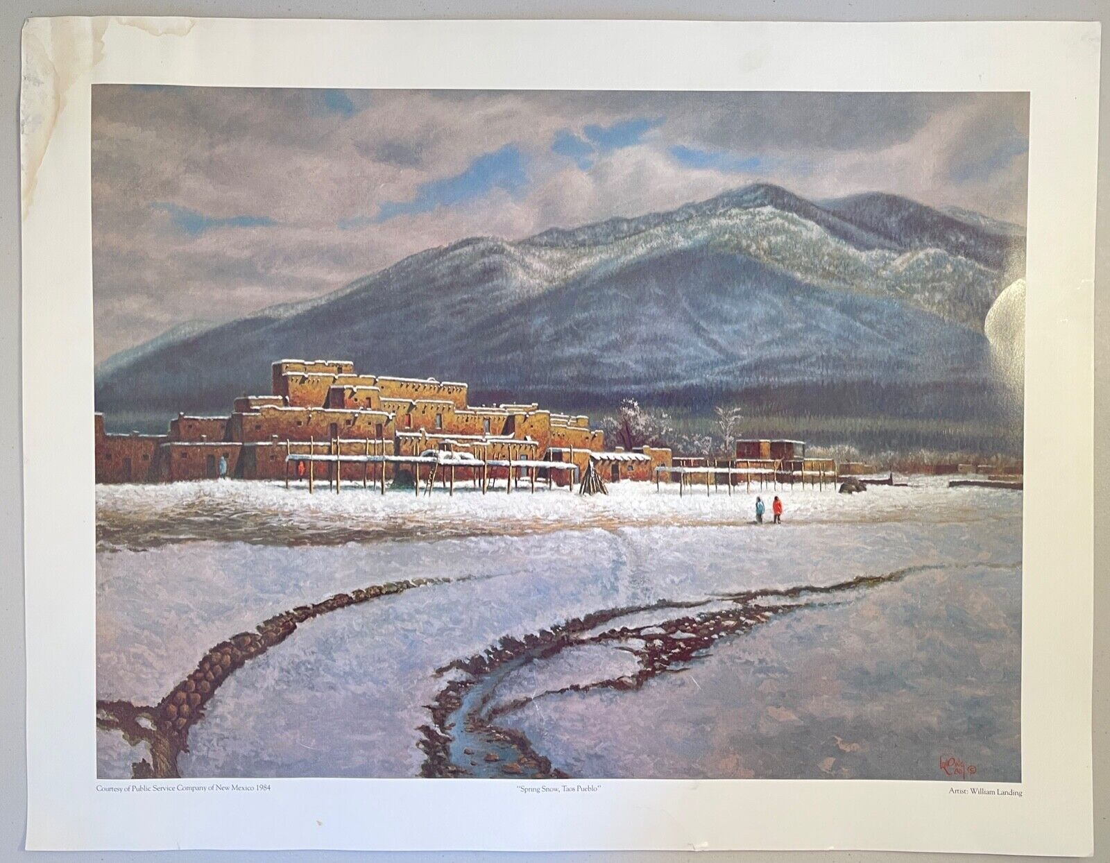 VTG Art Print C1980 Spring Snow, Taos Pueblo Winter New Mexico William Landing - $19.99