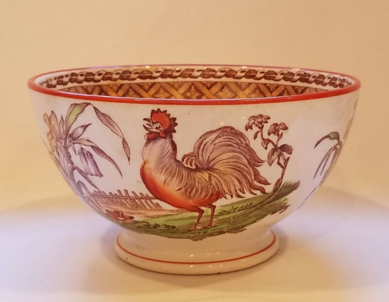 """Antique Petrus Regout Maastricht Bowl 6"""" Haan Rooster Old Oval Mark Circa 1870"""