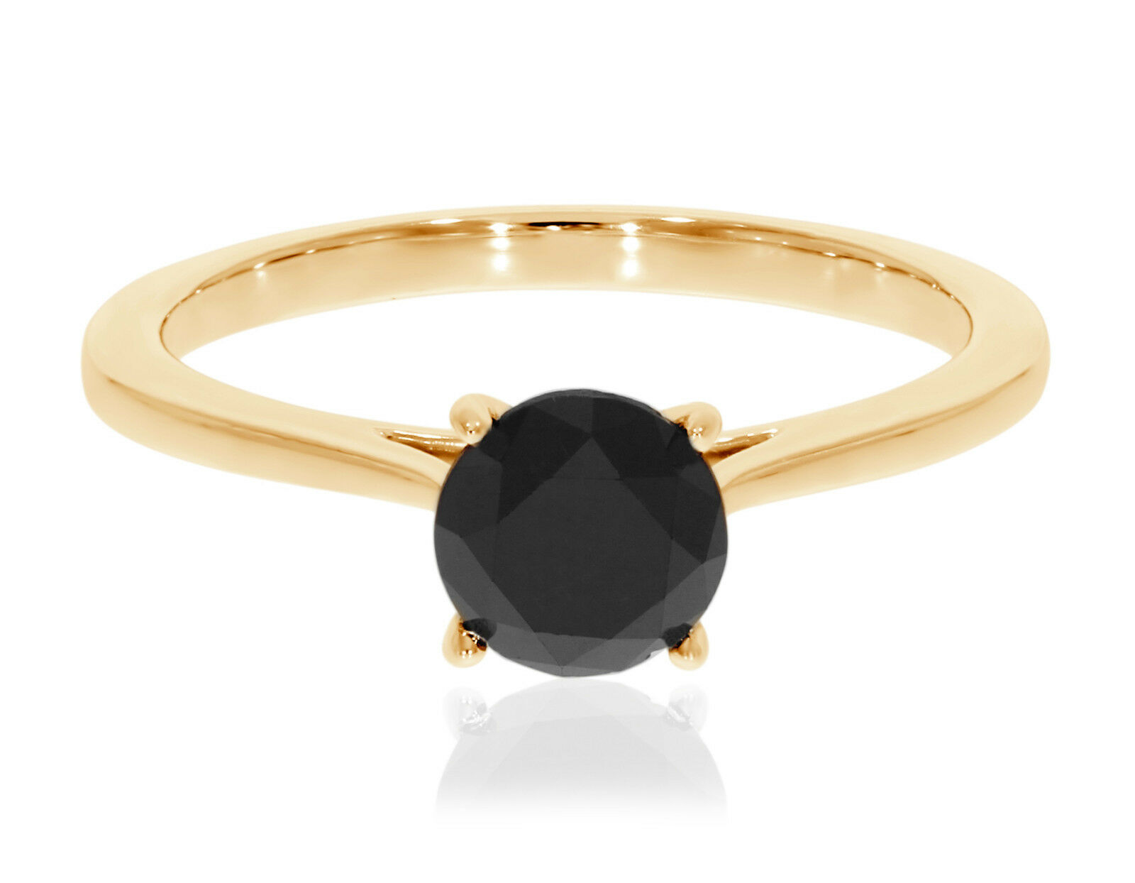 Prism Jewel 1.25 Carat Prong Set Round Black Diamond Solitai