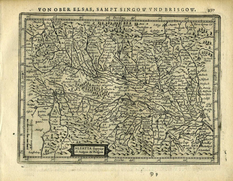 1651 Genuine Antique map SW Germany, Basel, Alsatia, Rhine. Mercator/Jansson