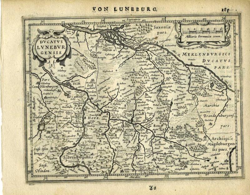 Genuine Antique map northern Germany, Lunebur, Hamburg. Mercator/Jansson 1651