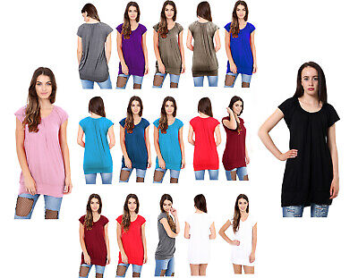 Plain Low-cut ( New Women's Low Cut Plain Hip Long Line Top T Shirt Tunic Gathering Holiday Top)