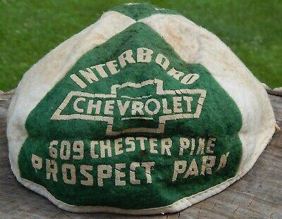 1950s Hats: Pillbox, Fascinator, Wedding, Sun Hats Vtg 1950's Interboro CHEVROLET Felt Beanie Hat ~ Ridley Twp Green Raiders PA Cap $42.00 AT vintagedancer.com