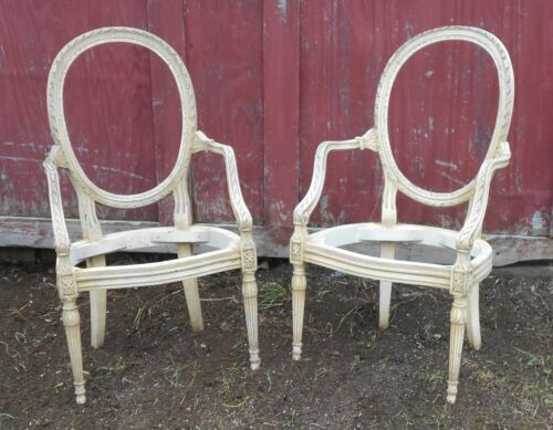VINTAGE PAIR OF EARLY 20th CENTURY FRENCH REGENCY OVAL BACK ARMCHAIRS