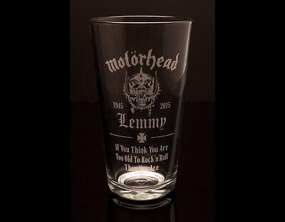Lemmy Motorhead - Fully Engraved Pint Glass - FREE UK Post