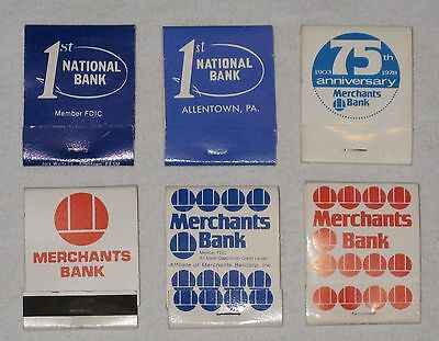 6 Different Bank Matchbooks Allentown  Pa   1St National  Merchants   1970 80S