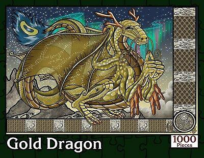 Gold Dragon | 1000 Piece Fantasy Jigsaw Puzzle | New Sealed in Numbered (Dragon 1000 Piece Jigsaw Puzzle)