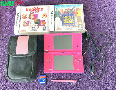 NINTENDO DSi CONSOLE PINK DS HANDHELD SYSTEM + GAMES FULLY TESTED RARE!