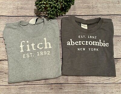2 Abercrombie Kids Boys muscle Short Sleeved Shirts Size XL Gray Dark Embroider