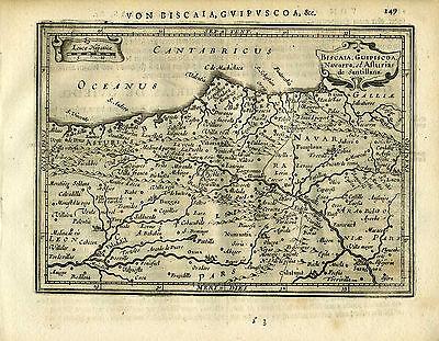 1651 Genuine Antique map NE Spain, Cantabricus Ocean, Vitoria. Mercator/Jansson
