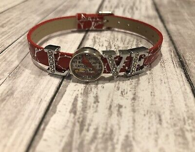 New MLB St. Louis Cardinals baseball 8mm red faux leather slide charm bracelet Leather St Louis Cardinals Bracelets