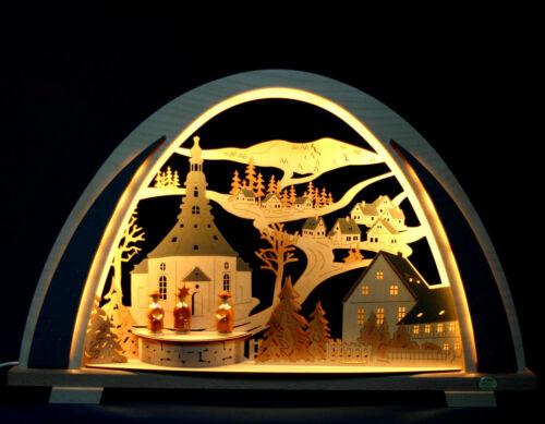 3D LED Schwibbogen New-Line modern 53cm Seiffener Kirche Erzgebirge Fachhandel
