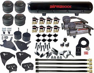 "Chevy S10 Air Kit Pewter Air Compressors 2500 Bags 1/2""npt Valves Blk AVS 7 Box"