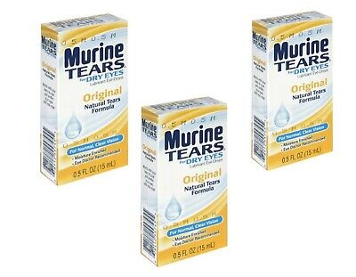 (3 Boxes) Murine Tears Lubricant Eye Drops for Dry Eyes, Original, 0.5 oz each