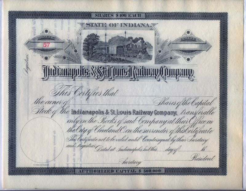 Indianapolis & St. Louis Railway Company Stock Certificate Railroad Indiana