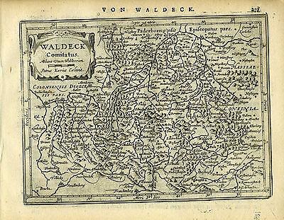 1651 Genuine Antique map west central Germany, Waldeck. Mercator/Jansson