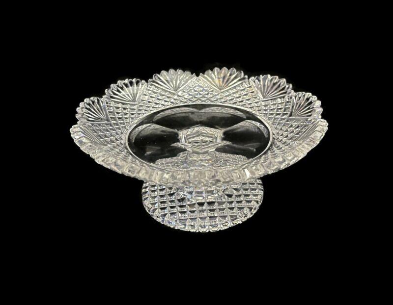 """3"""" x 7"""" Hawkes """"Strawberry, Diamond & Fan"""" American Brilliant Cut Glass Compote"""
