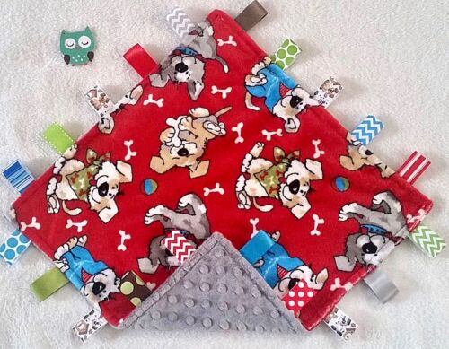 Double Minky! Puppy Dog Minky & Gray Dimple Minky Tag Taggie Security Blanket