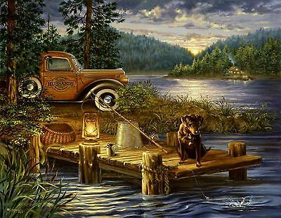 NIGHT FISHING DOG CABIN LAKE   MOUSE PAD  IMAGE FABRIC TOP RUBBER BACKED  Dog Round Mouse Pad