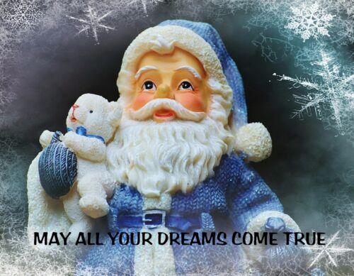 METAL REFRIGERATOR MAGNET Christmas Santa Claus May Your Dreams Come True Saying