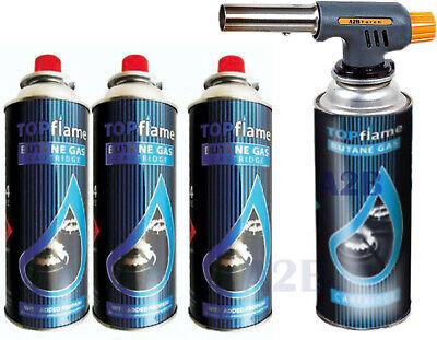 Blow Torch 4 Butane Gas Cans Flamethrower Mini Lighter Blowlamp Plumbing Kitchen