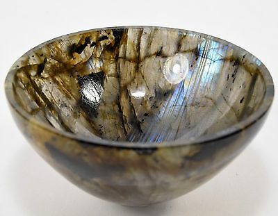 "2.9"" Labradorite Bowl Natural Azure Flash Mineral Handcrafted Cup - Madagascar"