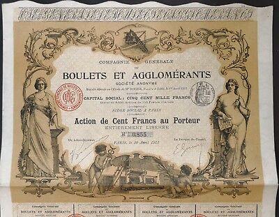 Boulets et Agglomerants, Aktie 1912, Jugendstil, DEKO