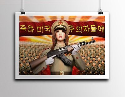 North Korea Anti American Propaganda Poster Print Girl With Akm 18X24   Nk016