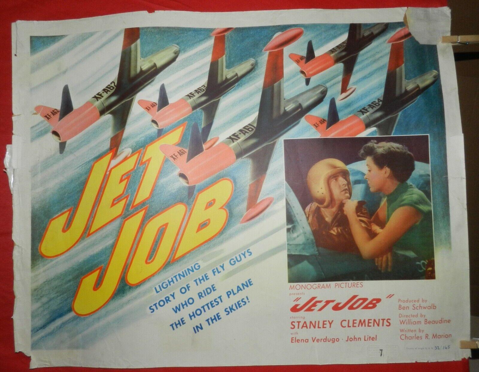 1 Vintage Half Sheet Movie Poster For Jet Job, 1952, Stanley Clements - $40.00