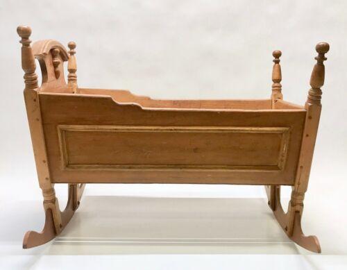 Antique Wooden Handmade Baby Cradle Crib
