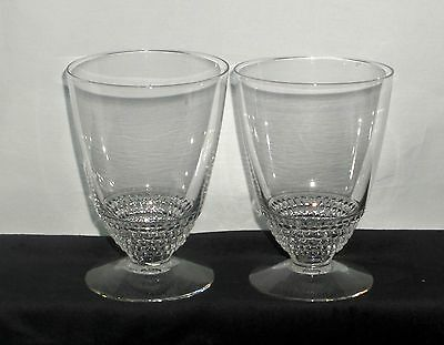 "2 Duncan & Miller TEAR DROP CRYSTAL *4 1/2"" FOOTED WATER TUMBLERS*"