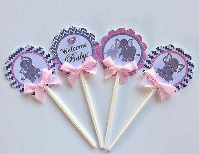 Elephant cupcake toppers/pink and gray elephant/ elephant baby shower cupcake (Pink Gray Elephant Baby Shower)