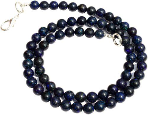 "Natural Gem Australian Black Matrix Opal 6mm Smooth Round Beads Necklace 16"""