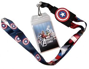 Marvel-Comics-CAPTAIN-AMERICA-Reversible-LANYARD-ID-Holder-Keychain