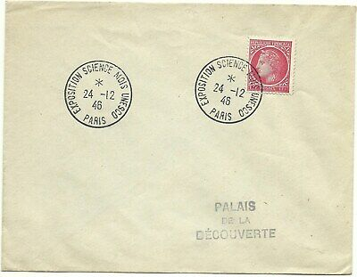 CHEMISTRY- PHYSICS-SCIENCE: FRANCE Cover with spec.postm: UNESCO Exp.Sience 1946