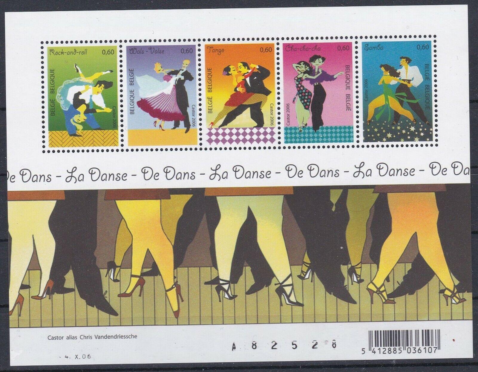 Belgique 2006 3566-70 BL 136 ** Danses Rock Valse Tango Cha-cha-cha Samba