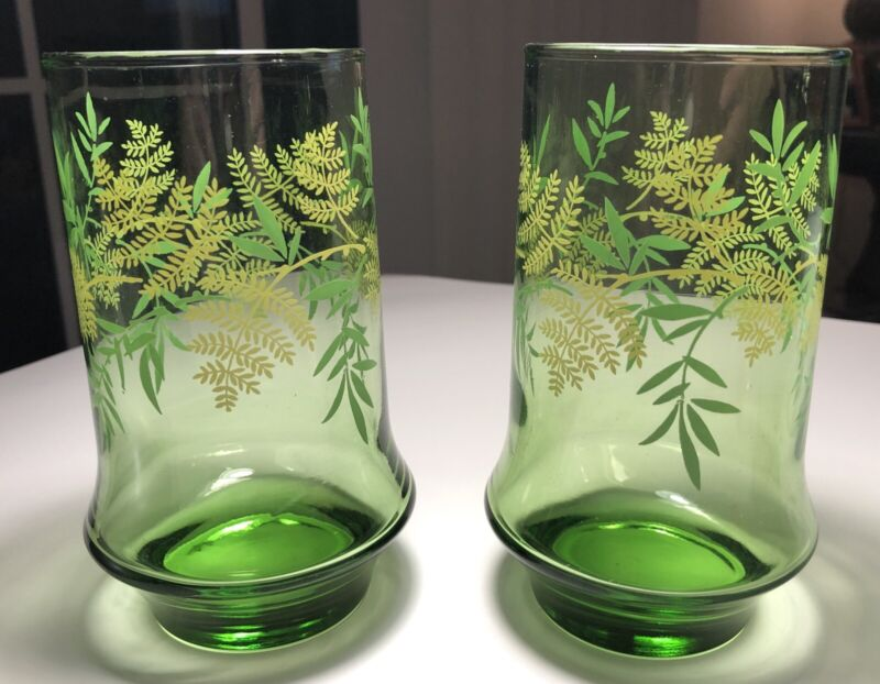 Set Of Two Libbey Mid-Century Modern Retro Drinking Glasses Floral Foliage Exc!