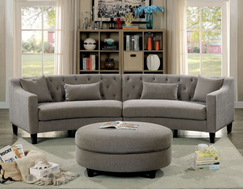 Classic Contemporary Linen Like Fabric Sectional Sofa Warm Gray Couch Pillows