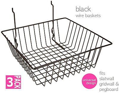 Baskets For Gridwallslatwallpegboard - Black 3 Pcs