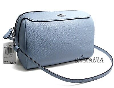 New Coach F76629 BENNETT Crossbody Bag Crossgrain Leather Pale Blue $278 NWT