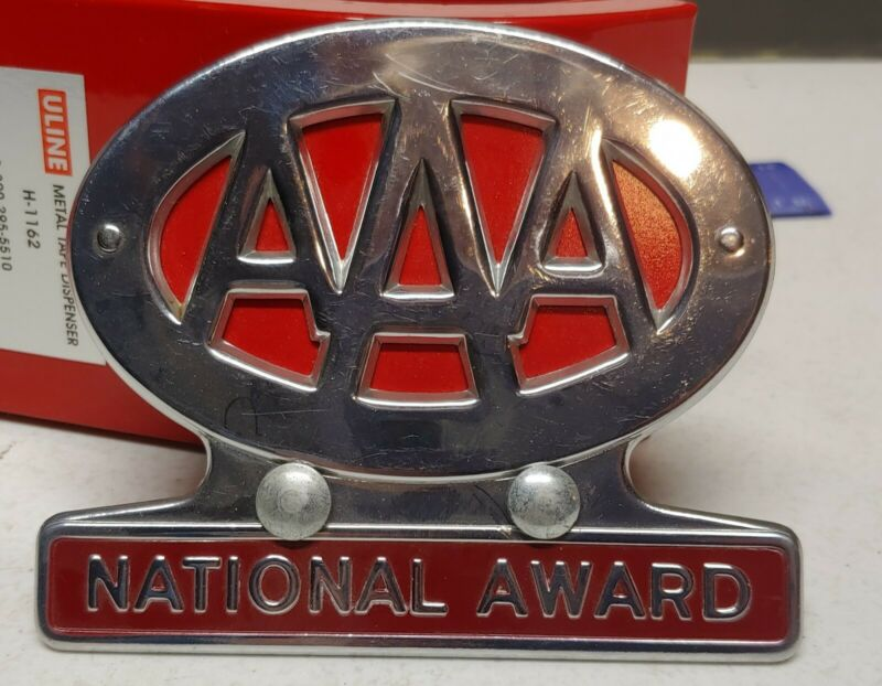 NOS Vintage AAA National Award License Plate Topper Trunk Bumper Badge Emblem